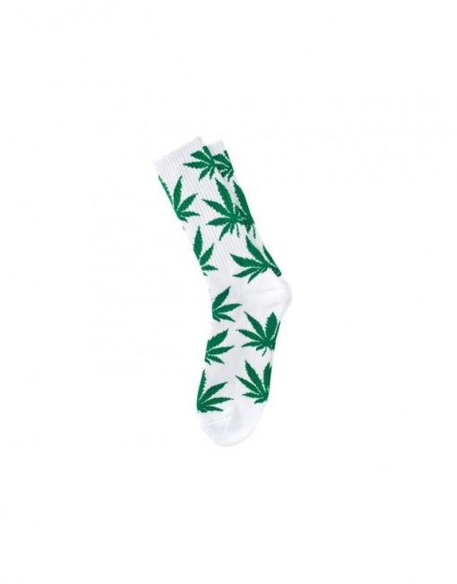 chaussette-cannabis-blanche-vert-feuille