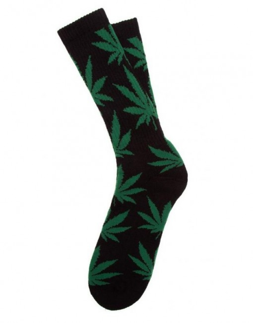 chaussette-cannabis-noire-verte-feuille